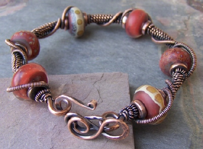 Autumn Spice Lampwork and Copper Bangle