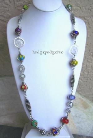 LeCarnivale Lampwork and Silver Necklace