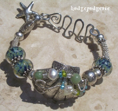 Sea Gems Lampwork and Silver Bangle