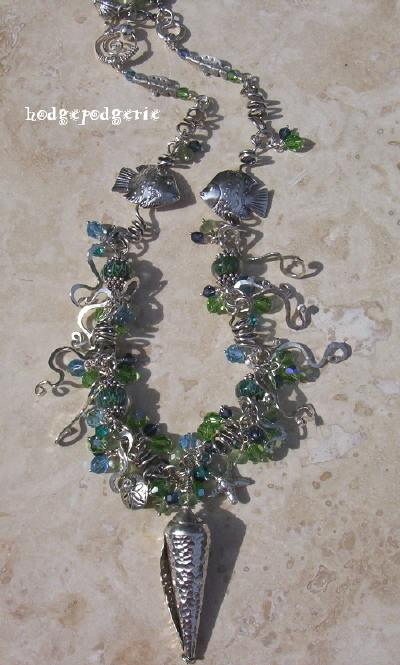 Seascape - Sterling Silver and Lampwork Necklace