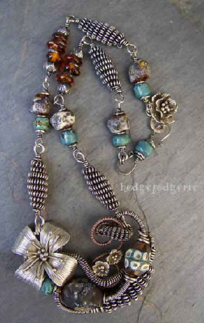 Ancient Musing - Sterling Silver and Lampwork Necklace