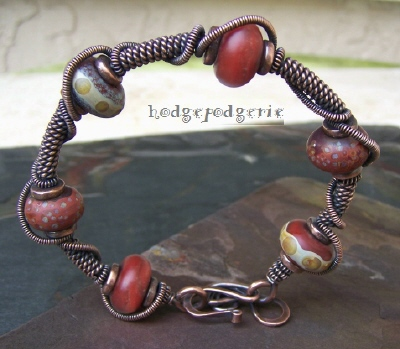 Autumn Spice Lampwork and Copper Bangle
