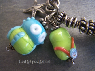 Beach Fun Lampwork and Sterling Silver Bangle