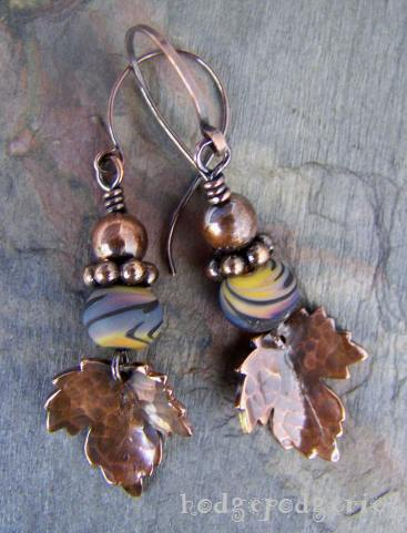 pure copper and lampwork earrings