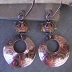 Etched Disc Copper Earrings