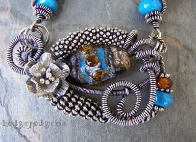 Native Dance Lampwork and Sterling Silver Necklace
