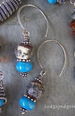 Native Dance Lampwork and Sterling Silver Earrings