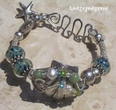 Sea Gems Lampwork and Silver Bangle