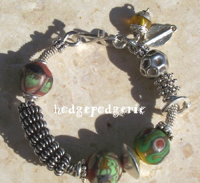 The Gobi Lampwork and Silver Bangle