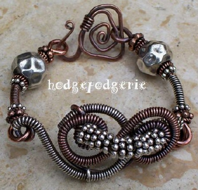 Wired! Silver and Copper Bracelet