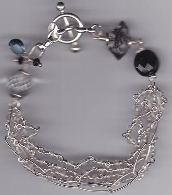 crystal quartz chains, rutilated quartz nugget black spines and blue topaz